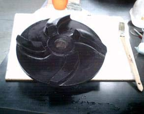 Impeller restored using Belzona 2131 (D&A Fluid Elastomer)